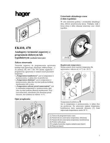 Cyfrowy termostat zegarowy z programem - Hager