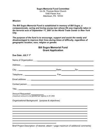 Bill Sugra Memorial Fund Grant Application