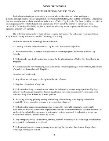 Acceptable Technology Use Policy - Solon City Schools
