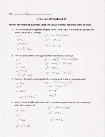 Non-Free Fall Worksheet