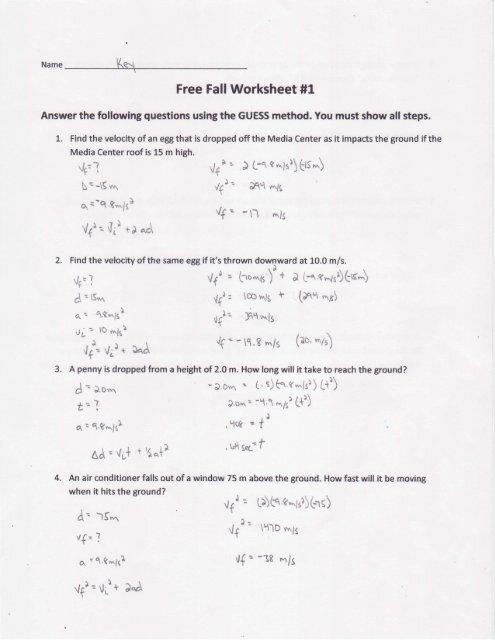 Free Fall Worksheet #1 Key - Solon City Schools