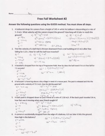 Mr Stanbrough\u0027s Free Fall 1 Applet Worksheet College Math Worksheets Free Fall Worksheet 2 Key Solon City Schools