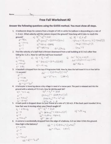 mr stanbrough 39 s free fall 1 applet worksheet. Black Bedroom Furniture Sets. Home Design Ideas