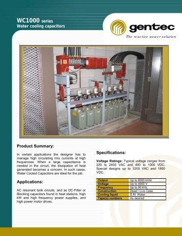 WC1000 Series Water Cooling Capacitors - Gentec