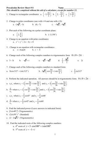 Precalculus Review Problems - Ship