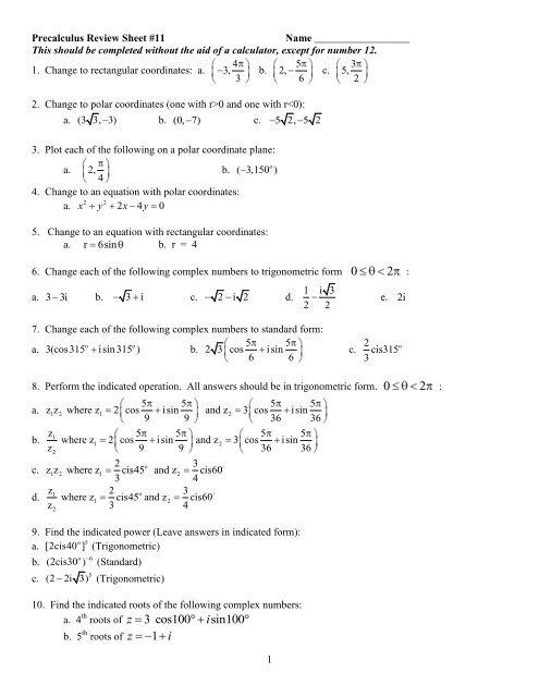 Precalculus Review Sheet #11 - Solon City Schools