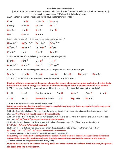 Unit 4 Periodicity Review Worksheet Answer Key Solon City