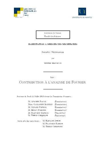 Contribution à l'analyse de Fourier - Laboratoire de mathématiques