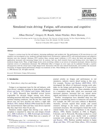 Simulated train driving: Fatigue, self-awareness and ... - ResearchGate
