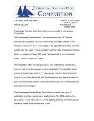 Chesapeake Chamber Music Competition Announces 2012 ...