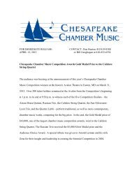 2012 Competition Wrap-Up - Chesapeake Chamber Music