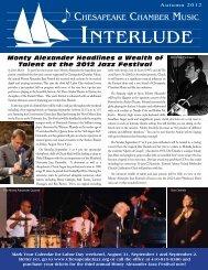 Autumn 2012 - Chesapeake Chamber Music