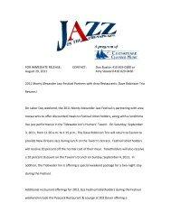 2011 Monty Alexander Jazz Festival Partners with Area Restaurants