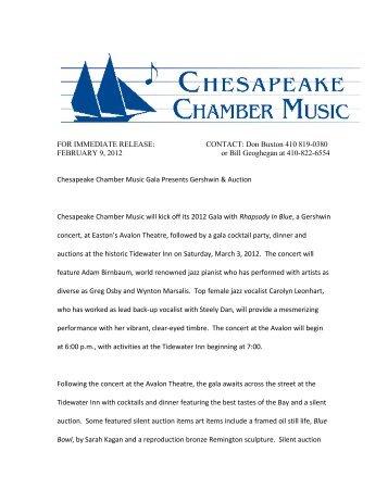 Chesapeake Chamber Music Gala Presents Gershwin & Auction