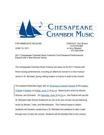 CCM Festival - Final.. - Chesapeake Chamber Music
