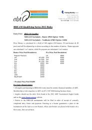 BREAM Qualifying Series 2012 Rules