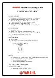 BREAM Australian Open 2013 EVENT INFORMATION SHEET