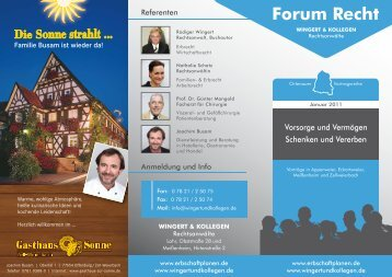 Flyer Forum Recht - Januar 2011 - Erbschaft planen