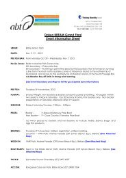 Daiwa BREAM Grand Final Event Information Sheet