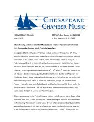 Internationally Acclaimed Chamber Musicians and Talented ...