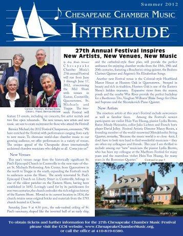 Summer 2012 - Chesapeake Chamber Music