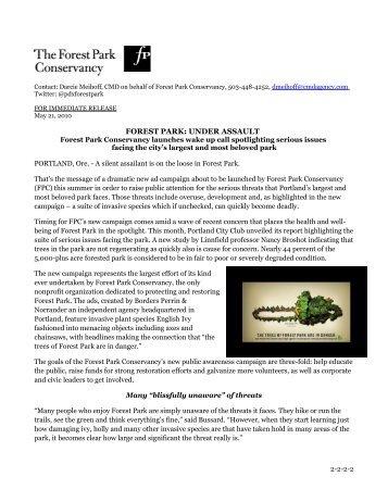 FOREST PARK: UNDER ASSAULT - The Forest Park Conservancy