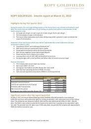 Kopy Goldfields Interim Report Q1 2012 - Kopylovskoye