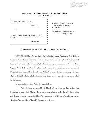 Plaintiffs' Motion for Preliminary Injunction - Friends of the Weeping Ivy