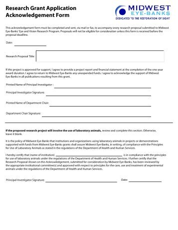 Grant Application Acknowledgement Form - Midwest Eye