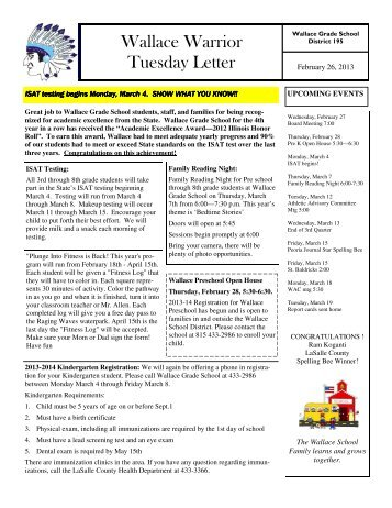 Wallace Warrior Tuesday Letter - Wallace Grade School