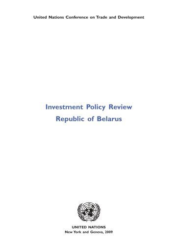 Investment Policy Review Republic of Belarus