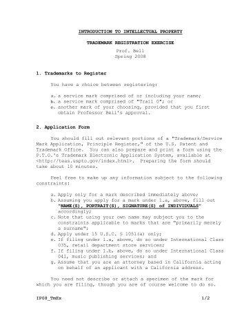 Trademark Registration Exercise - Tom W. Bell