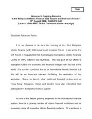 Governor's Opening Remarks at the Malaysia Country ... - MIFC