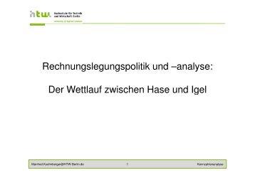 Rechnungslegungspolitik und –analyse: Der Wettlauf ... - HTW Berlin