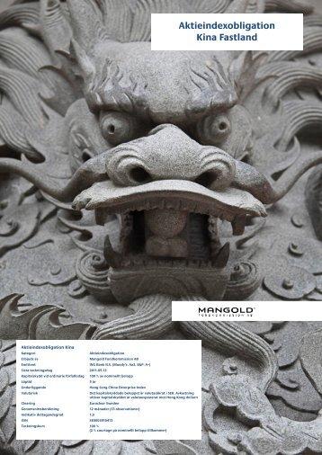 Aktieindexobligation Kina Fastland - Mangold Fondkommission