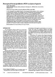 Perceptual Linear Predictive (PLP) Analysis of Speech