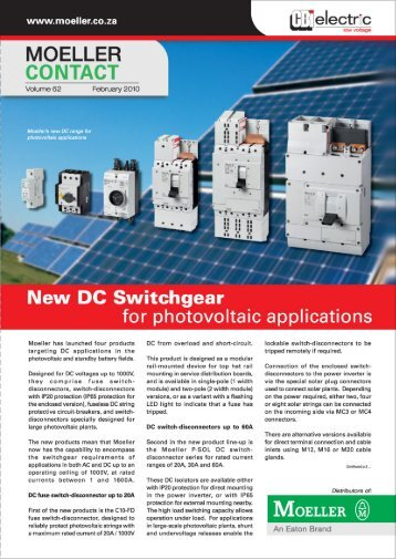 """Moeller """"Contact"""" Magazine - Moeller Electric"""