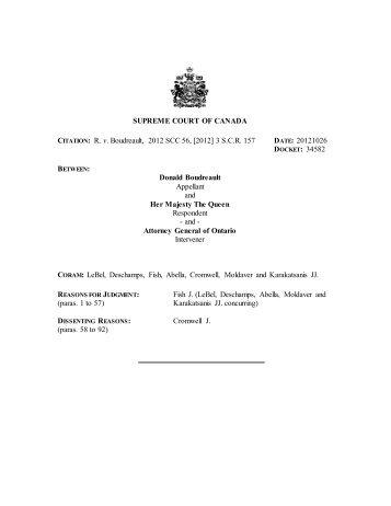 R. v. Boudreault, 2012 SCC 56 - Supreme Court of Canada
