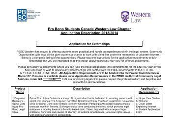 Application Description - University of Western Ontario Faculty of Law