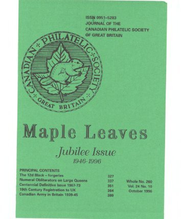 October 1996, whole number 260 - Canadian Philatelic Society of ...