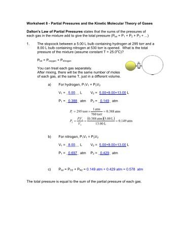 Worksheet 9 Partial Pressures And The Kinetic Molecular Theory Of