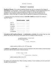 Worksheet 1 - Calculations Significant Figures - the number of ...