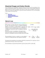 Dissolved Oxygen and Carbon Dioxide Henry's Law