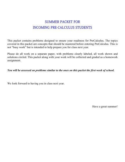 Into Algebra 2 Summer Work pdf - Swampscott High School