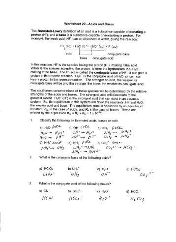 ' Worksheet 20 - Acids and Bases