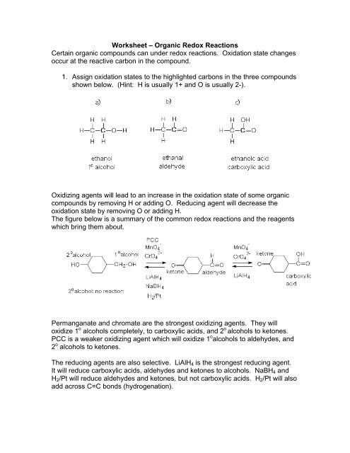 Worksheet – Organic Redox Reactions Certain organic