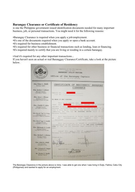 Barangay Clearance or Certificate of Residency