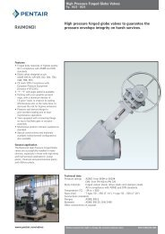 High pressure forged globe valves to guarantee the ... - Pentair