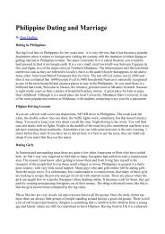 Philippine Dating and Marriage - Philippine Culture: Overview Culture