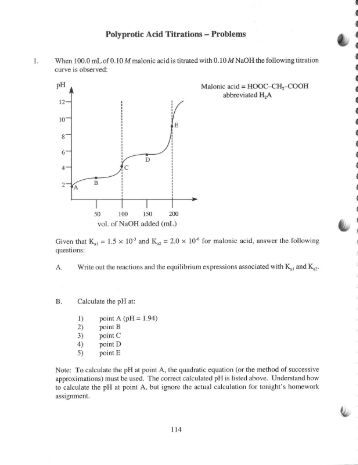 Printables Titrations Practice Worksheet titration matrix polyprotic acid titrations problems i